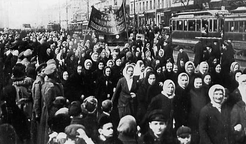 Manifestationdu peuple à petrograd en février 1917